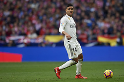 February 9, 2019 - Madrid, Madrid, Spain - Casemiro of Real Madrid during the week 23 of La Liga between Atletico Madrid and Real Madrid at Wanda Metropolitano stadium on February 09 2019, in Madrid, Spain. (Credit Image: © Jose Breton/NurPhoto via ZUMA Press)