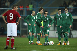 Part of Slovenian national team preparing to have a shot to the goal during the UEFA Friendly match between national teams of Slovenia and Denmark at the Stadium on February 6, 2008 in Nova Gorica, Slovenia.  Slovenia lost 2:1. From left: Tomasson (Denmark), Brecko, Birsa, Jukan, Sisic and Novakovic. (Photo by Vid Ponikvar / Sportal Images).