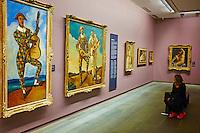 France, Paris (75), zone classée Patrimoine Mondial de l'UNESCO, les Tuileries, le musée de l'Orangerie, André Derain, Arlequin à la guitare et Arlequin et Pierrot, 1924 // France, Paris, les Tuileries, museum of Orangerie, André Derain, Arlequin à la guitare et Arlequin et Pierrot, 1924