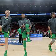 March 31, 2019; Portland, OR, USA; Oregon Ducks forward Lydia Giomi (14), Oti Gildon (32) and Ruthy Hebard (24) warm up in the Elite Eight of the NCAA Women's Tournament at Moda Center.<br /> Photo by Jaime Valdez