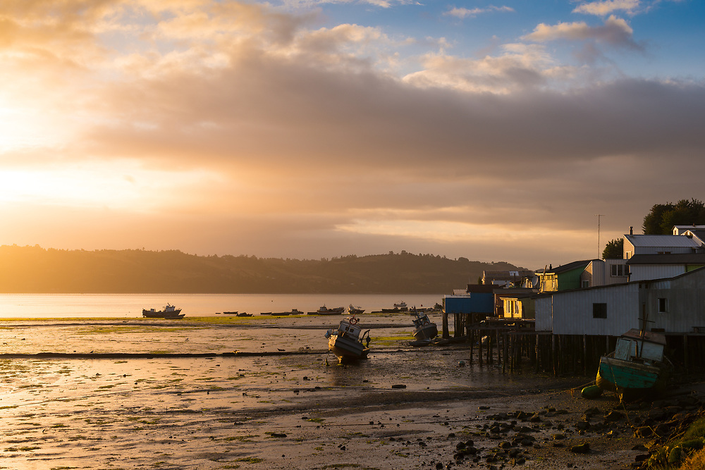 Sunrise at Castro in the southen island of Chiloe, Chle