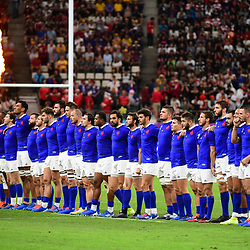France line up before during the Rugby World Cup 2019 Quarter Final match between Wales and France on October 20, 2019 in Oita, Japan. (Photo by Dave Winter/Icon Sport) - Oita Stadium - Oita (Japon)