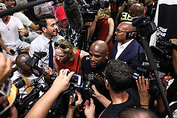 August 10, 2017 - Las Vegas, Nevada, USA - FLOYD MAYWEATHER JR. speaks to press during a media day at the Mayweather Boxing Club in Las Vegas, Nevada. Mayweather Jr. will fight Connor McGregor at the T-Mobile Arena in Nevada on August 26. (Credit Image: © Joel Angel Juarez via ZUMA Wire)