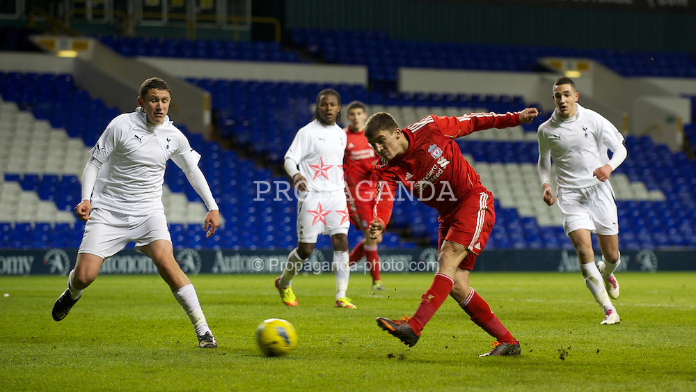 LONDON, ENGLAND - Wednesday, February 1, 2012: Liverpool's Adam Morgan misses a late chance to equalise against Tottenham Hotspur during the NextGen Series Quarter-Final match at White Hart Lane. (Pic by David Rawcliffe/Propaganda)