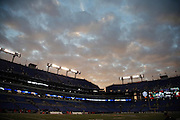 The sun sets over the field in this general view, wide angle photograph of M&T Bank Stadium taken after the Baltimore Ravens NFL week 13 regular season football game against the San Diego Chargers on Sunday, Nov. 30, 2014 in Baltimore. The Chargers won the game 34-33. ©Paul Anthony Spinelli