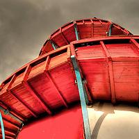Red helterskelter at fairground