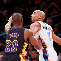 31 January 2014: Charlotte Bobcats shooting guard Gerald Henderson (9) looks to pass over Los Angeles Lakers shooting guard Jodie Meeks (20) during the Charlotte Bobcats 110-100 victory over the Los Angeles Lakers at the Staples Center, Los Angeles, California, USA.
