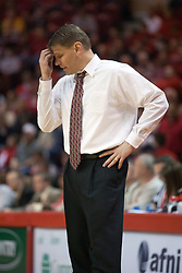 29 December 2006: Coach Porter Moser re-thinking his strategy. The Salukis of Southern Illinois University beat the Redbirds 68-49 at Redbird Arena in Normal Illinois on the campus of Illinois State University.<br />