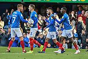 Portsmouth Players Celebrate  after Portsmouth Midfielder, Ben Close (33) scores a goal to make it 1-1 during the EFL Sky Bet League 1 match between Portsmouth and Accrington Stanley at Fratton Park, Portsmouth, England on 4 May 2019.