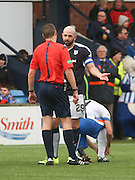 Dundee&rsquo;s Gary Harkins makes a point to referee Euan Archibald - Kilmarnock v Dundee, Ladbrokes Premiership at Rugby Park<br /> <br />  - &copy; David Young - www.davidyoungphoto.co.uk - email: davidyoungphoto@gmail.com
