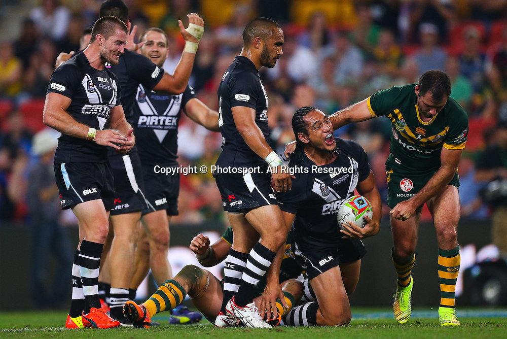 Martin Taupau celebrates New Zealand's victory during the Four Nations test match between Australia and New Zealand at Suncorp Stadium,  Brisbane Australia on October 25, 2014.