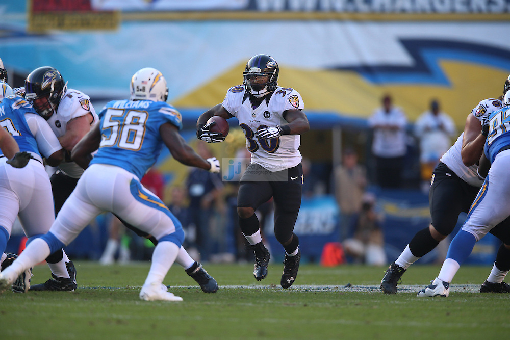 Baltimore Ravens running back Bernard Pierce (30) in action against the San Diego Chargers during an NFL game on Sunday, November 25, 2012 in San Diego, CA.  (Photo by Jed Jacobsohn)