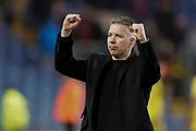 Peterborough United manager Darren Ferguson celebrates their 1-0 win at Oxford United during the EFL Sky Bet League 1 match between Oxford United and Peterborough United at the Kassam Stadium, Oxford, England on 16 February 2019.