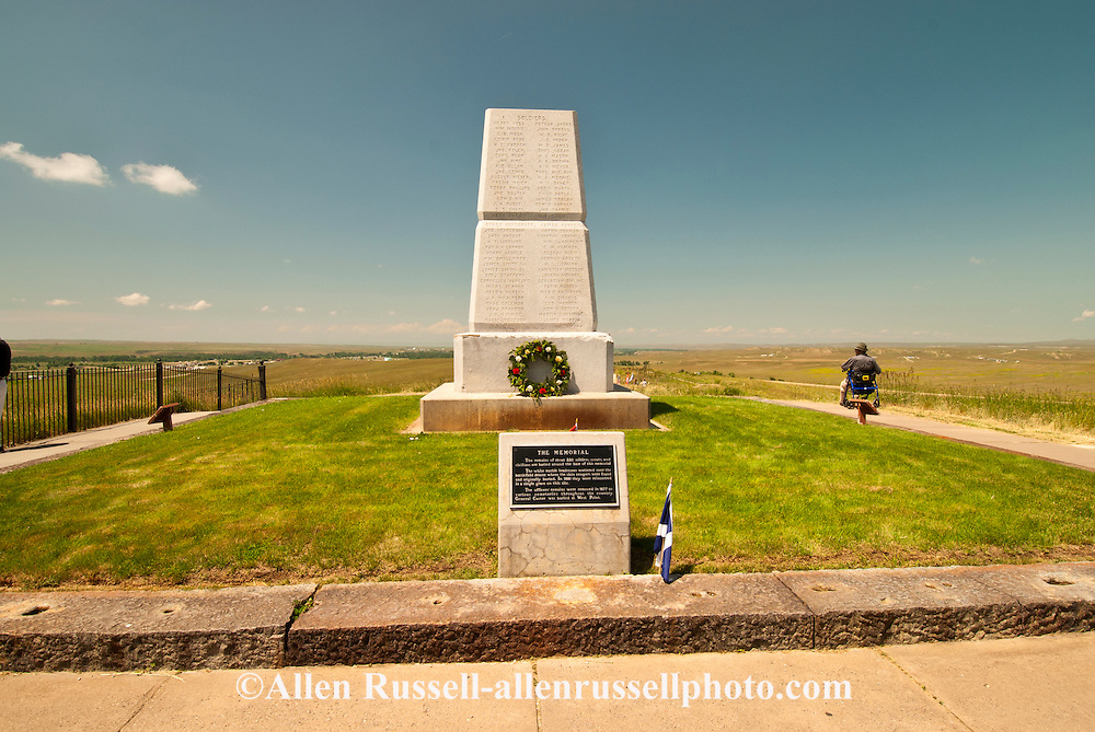 Little Bighorn Battlefield National Monument, Montana, 7th Cavalry Memorial, handicapped tourist