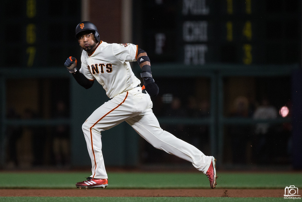 San Francisco Giants left fielder Eduardo Nunez (10) attempts to steal second base against the Los Angeles Dodgers at AT&T Park in San Francisco, California, on April 24, 2017. (Stan Olszewski/Special to S.F. Examiner)
