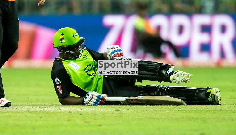 KFC Big Bash League T20 2015-16 , Sydney Thunder v Perth Scorchers, Spotless Stadium; 7 January 2016<br /> Sydney Thunder Andre Russell slips over running between wickets.