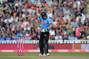 Luke Wright of Sussex raises his bat on reaching his half-century during the Vitality T20 Finals Day semi final 2018 match between Sussex Sharks and Somerset County Cricket Club at Edgbaston, Birmingham, United Kingdom on 15 September 2018.