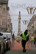 Brussels Belgium December 08 2018 civil protests in Brussels by the yellow vests, gilets jaunes, gele vestjes, in het centrum van de stad. De politie arresteerde de meeste relschoppers