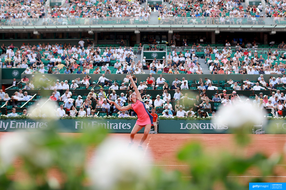 2017 French Open Tennis Tournament - Day Two. Jennifer Brady of the United States serving during her match against Kristina Mladenovic of France on Court Philippe-Chatrier during the women's Singles Round one match at the 2017 French Open Tennis Tournament at Roland Garros on May 29th, 2017 in Paris, France.  (Photo by Tim Clayton/Corbis via Getty Images)