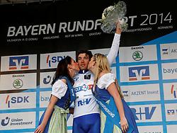 30.05.2014, Neusaess, GER, 35. Bayern Rundfahrt, 3. Etappe, Grassau - Neusaess, im Bild Thibaut Pinot (FRA, Team FDJ.fr), Fuehrender in der Nachwuchs - Wertung, Siegerehrung // the 3rd stage of the 35th Tour of Bavaria from Grassau to Neusaess Neusaess, Germany on 2014/05/30. EXPA Pictures © 2014, PhotoCredit: EXPA/ Eibner-Pressefoto/ Krieger<br /> <br /> *****ATTENTION - OUT of GER*****