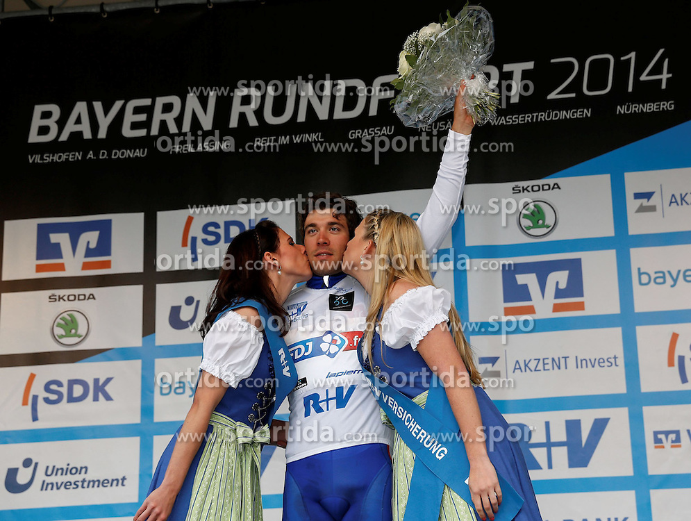 30.05.2014, Neusaess, GER, 35. Bayern Rundfahrt, 3. Etappe, Grassau - Neusaess, im Bild Thibaut Pinot (FRA, Team FDJ.fr), Fuehrender in der Nachwuchs - Wertung, Siegerehrung // the 3rd stage of the 35th Tour of Bavaria from Grassau to Neusaess Neusaess, Germany on 2014/05/30. EXPA Pictures &copy; 2014, PhotoCredit: EXPA/ Eibner-Pressefoto/ Krieger<br /> <br /> *****ATTENTION - OUT of GER*****