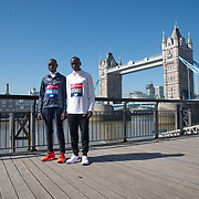 Daniel Wanjiru ,Eliud Kipchoge - Elite men photocall - Virgin Money London Marathon at Tower Hill on 19 April 2018, London, UK.