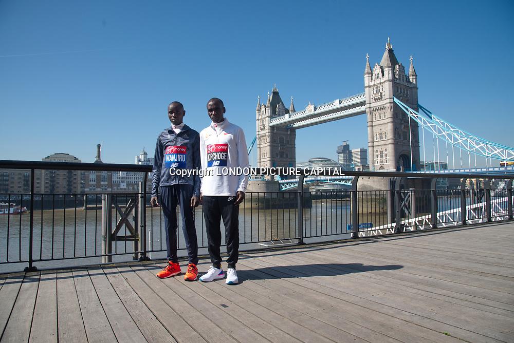 Daniel Wanjiru ,Eliud Kipchoge - Elite men photocall - Virgin Money London Marathon at Tower Hill on 19 April 2018, London, UK.
