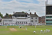 First pink ball delivery by Jake Ball during the Specsavers County Champ Div 2 match between Nottinghamshire County Cricket Club and Kent County Cricket Club at Trent Bridge, West Bridgford, United Kingdom on 26 June 2017. Photo by Simon Trafford.