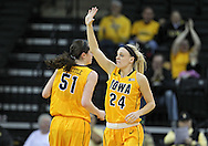 February 11 2013: Iowa Hawkeyes guard Jaime Printy (24) signals a play during the first half of the NCAA women's basketball game between the Nebraska Cornhuskers and the Iowa Hawkeyes at Carver-Hawkeye Arena in Iowa City, Iowa on Monday, February 11 2013.