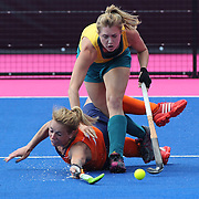 Willemijn Bos of Holland dives to stop a Australian attack during the Australia V Holland women's hockey warm up match on the main hockey arena at Olympic Park, Stratford during the London 2012 Olympic games preparation at the London Olympics. London, UK. 22nd July 2012. Photo Tim Clayton