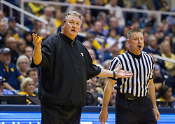 Jan 7, 2017; Morgantown, WV, USA; West Virginia Mountaineers head coach Bob Huggins reacts to a call during the first half against the TCU Horned Frogs at WVU Coliseum. Mandatory Credit: Ben Queen-USA TODAY Sports