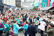 15/07/2016 Galway went bananas as the European Capital of Culture 2020 was announced dancing on the street, champagne and with in the middle of the Galway international Arts Festival which will lead to a week long celebration in the City. Photo:Andrew Downes, xposure
