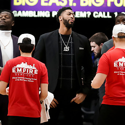 Jan 30, 2019; New Orleans, LA, USA; New Orleans Pelicans forward Anthony Davis (23) watches from the bench during the second half against the Denver Nuggets at the Smoothie King Center. Mandatory Credit: Derick E. Hingle-USA TODAY Sports