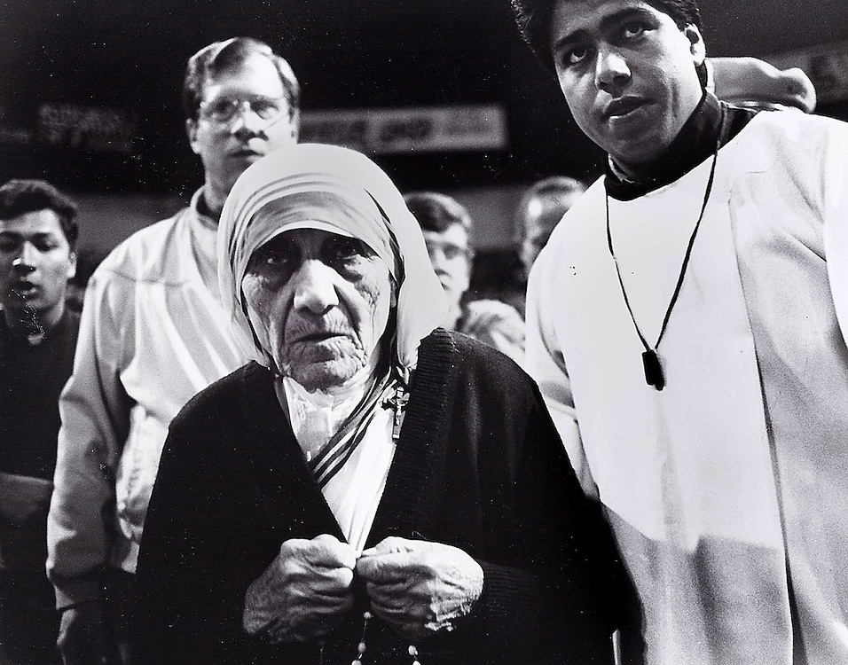 Mother Teresa on a visit to the Tijuana Auditorium.  1997