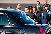17 FEBRUARY 2009 -- Barack Obama and Phil Gordon during the arrival of President Barack Obama at Sky Harbor Airport Tuesday.   PHOTO BY JACK KURTZ