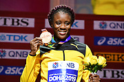Danielle Williams (JAM) poses with the bronze medal after placing third in the women's 100m hurdles during the IAAF World Athletics Championships, Sunday, Oct.. 6, 2019, in Doha, Qatar. (Jiro Mochizuki/Image of Sport)