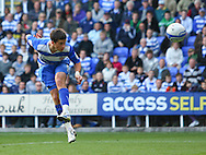 Shane Long (9) of Reading heads at goal (misses) during the Npower Championship match between Reading and Barnsley on Saturday 25th September 2010 at the Madejski Stadium, Reading, UK. (Photo by Andrew Tobin/Focus Images)