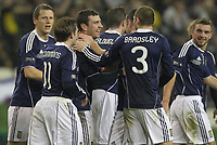 Football - Carling Nations Cup - Scotland v Northern Ireland<br /> James McArthur goal celebrations during the Scotland v Northern Ireland Carling Nations Cup at The Aviva Stadium