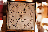 Punched Paper Tape Reader dial,  indicates the speed of transmission on the landline from Orleans to NYC in letters per minute.