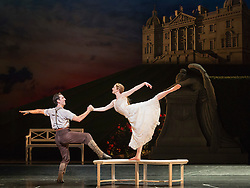"© Licensed to London News Pictures. 04/12/2015. London, UK. Chris Trenfield as Leo and Cordelia Braithwaite as Aurora. Matthew Bourne's ""Sleeping Beauty"", a Gothic Romance, is performed at Sadler's Wells from 1 Dec 2015 - 24 Jan 2016. Photo credit: Bettina Strenske/LNP"