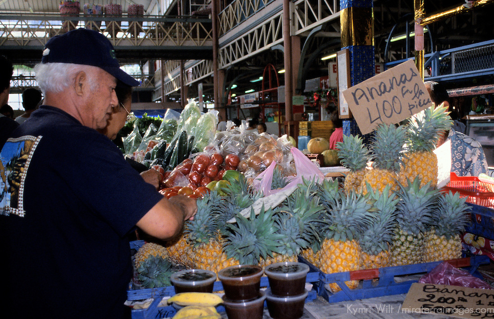 Oceania, South Pacific, French Polynesia, Tahiti. Pineapples at the Papeete Market.