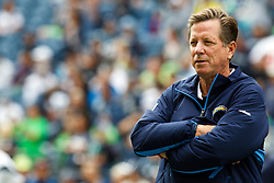 September 26, 2010; Seattle, WA, USA;  San Diego Chargers head coach Norv Turner watches his team warm up before the game against the Seattle Seahawks at Qwest Field.
