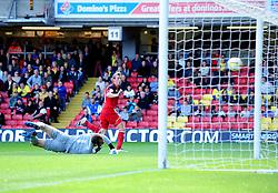Bristol City's Martyn Woolford hits the post - Photo mandatory by-line: Joe Meredith/JMP  - Tel: Mobile:07966 386802 22/09/2012 - Watford v Bristol City - SPORT - FOOTBALL - Championship -  Watford  - Vicarage Road Stadium