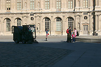Street sweeping machine in the grounds of the Louvre, Paris, France<br />