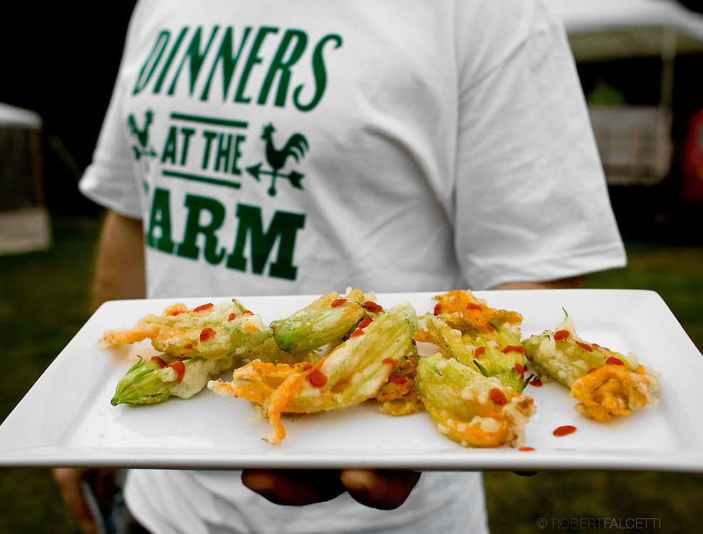 SOUTH GLASTONBURY, CONNECTICUT-10 September 2009-- Fried Squash blossoms were served during the Dinners at the Farm event held at Old Maids Farm in South Glastonbury, Connecticut. The dinner, hosted by farm owner George Purtill, was a benefit for Working Lands Alliance. (Photo by Robert Falcetti)