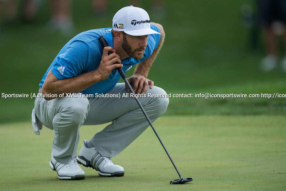 September 8, 2016: Dustin Johnson looks over a putt on hole number 2 during the first round of the BMW Championship at Crooked Stick Golf Club in Carmel, IN.  (Photo by Zach Bolinger/Icon Sportswire)