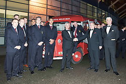 CARDIFF, WALES - Tuesday, October 7, 2008: Stewart Dobson, Head of Marketing at Brains, with FAW President Peter Rees and Wales' manager John Toshack at the Brains Beer Wales Football Awards at the Millennium Stadium. (Photo by David Rawcliffe/Propaganda)