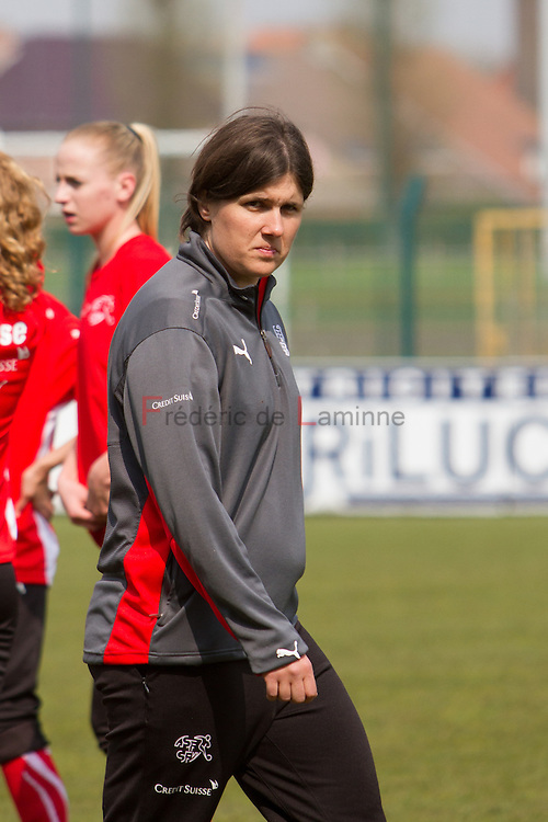 21120413 - HARELBEKE, BELGIUM : Switzerland's Head coach Brigitte Steiner  is pictured here during the Second qualifying round of U17 Women Championship between Switzerland and Belgium on Friday April 13th, 2012 in Harelbeke, Belgium.