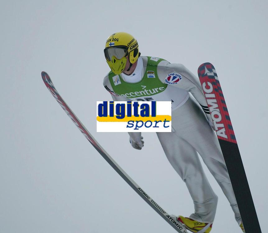Ski-jumping, 17. march 2002. Word Cup Holmenkollen Oslo, Norway. Janne Ahonen, Finland.