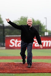 27May2011: Ceremonial first pitch by Normal Town Councilman Jeff Fritzen during a game between the Southern Illinois Miners and the Normal Cornbelters at the Corn Crib in Normal Illinois.